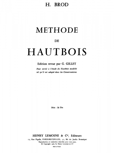 Brod - Méthode de hautbois - Complete Method Volume 1 - Complete Book/Score