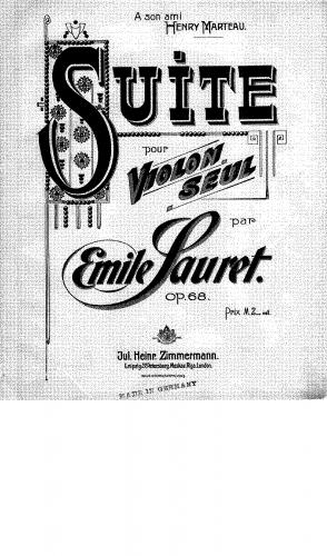 Sauret - Suite for Violin Solo, Op. 68 - Score
