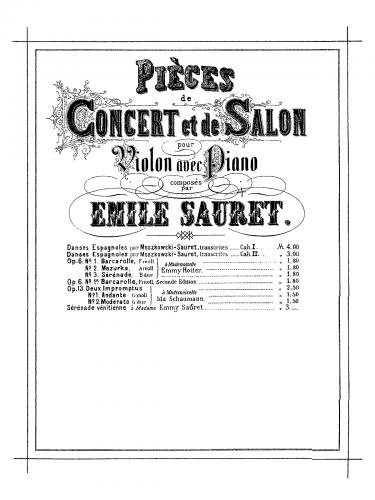 Sauret - 2 Impromptus - Score
