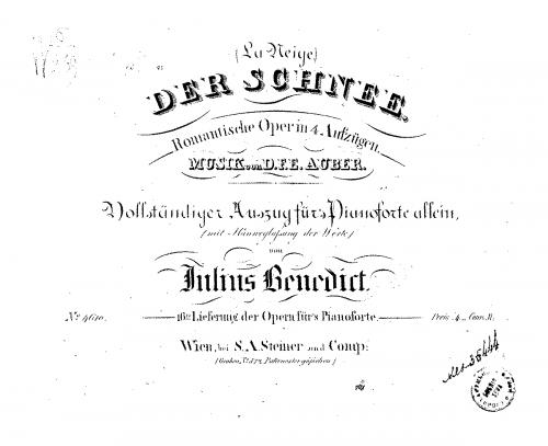 Auber - La neige, ou Le nouvel Eginhard - Overture - Score