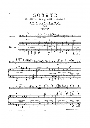 Brucken Fock - Sonata for Viola and Piano, Op. 5 - Piano score and Viola part