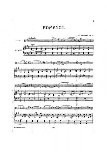 Akimenko - Romance - Score
