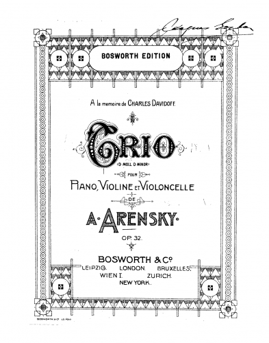 Arensky - Piano Trio No. 1 - Scores and Parts