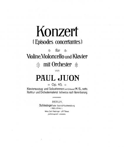 Juon - Episodes concertantes, Op. 45 - For Violin, Cello and 2 Pianos