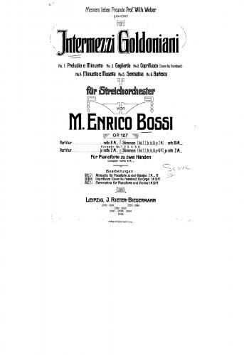 Bossi - Intermezzi goldoniani - Score