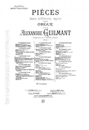 Guilmant - Pièces dans différents styles - Organ Scores Books 1-17