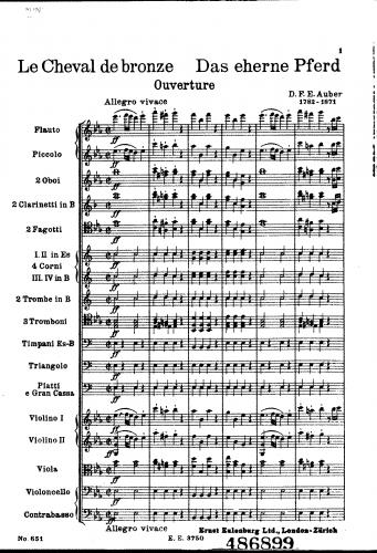 Auber - Le cheval de bronze - Overture - Complete Orchestral score