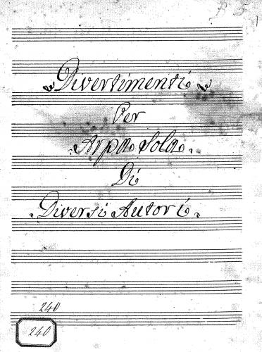 Anonymous - Divertimenti for Harp - Score