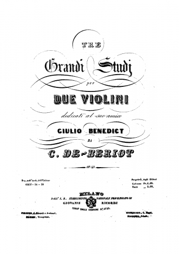 Bériot - 3 Grand Studies for 2 Violins, Op. 43
