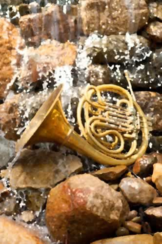 Note Cards - French Horn on Waterfall