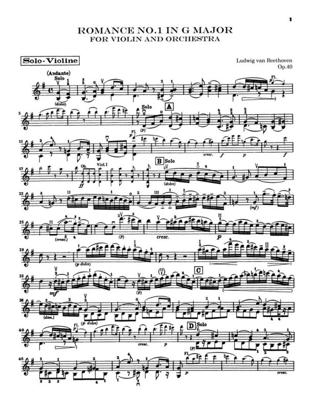 Beethoven - Romance for Violin and Orchestra - Violin Solo Part