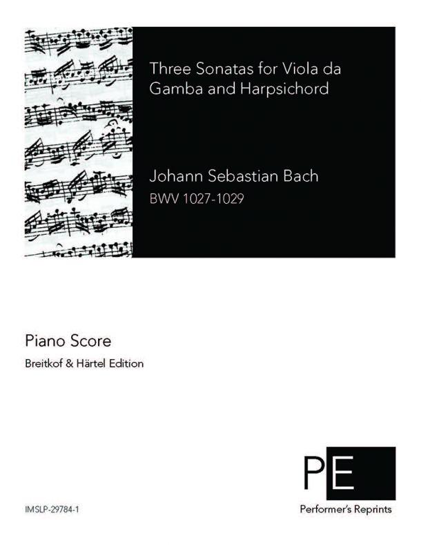 Bach - 3 Sonatas for Viola da Gamba and Harpsichord - For Viola & Piano