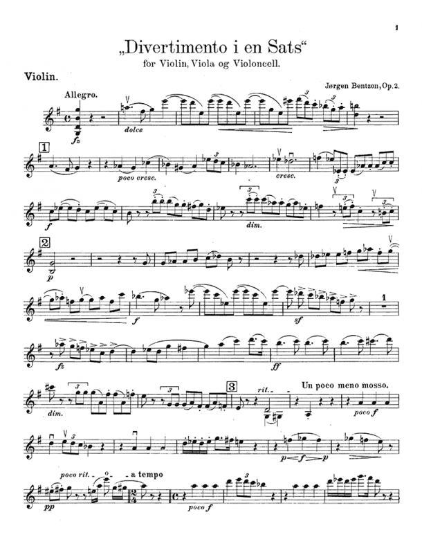 Bentzon - Divertimento, Op. 2
