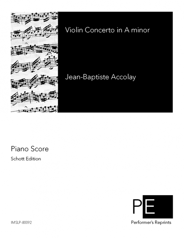 Accolay - Violin-Concert in A Minor - For Violin and Piano